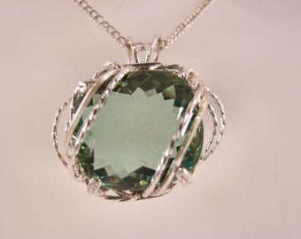 Green Amethyst set in a Sterling Silver Pendant