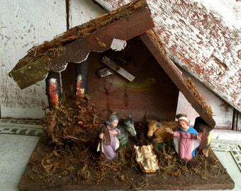 Nativity Christmas Creche Mary Joseph Baby Jesus in a Manager wooden stable barn