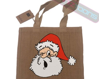 Santa Christmas Gift Jute Compact Shopping Bag