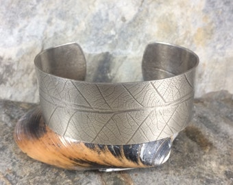 Silver Leaf Cuff Bangle - Adjustable -Textured Leaf Design - Crafted from Thick Sterling Silver Fused onto Brass - Handmade by Adrift Crafts
