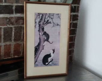 Large Vintage Oriental Print 'Cats and Sparrows' Pyon Sang-pyok  Ink on silk