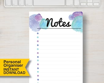 """PERSONAL SIZE NOTES Planner Printable Insert.  Notes Blue Watercolor Printable Planner. 3.75"""" x 6.75"""" (95mm x 171mm). Planner Insert   #705"""
