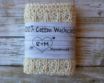 Knit Washcloths, Eco Friendly, Knit Washcloths, Cotton Scrubbie, Bath Accessories, Housewarming Decor, For Her, White Washcloth