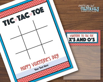 Tic Tac Toe Valentine Cards with Bag Toppers, TicTacToe Xs and Os Editable Treat Bag Labels, INSTANT DOWNLOAD, printable digital file