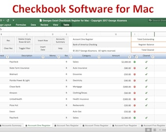 Checkbook Register for Mac - Excel Checkbook Spreadsheet Software for Mac Computers - Mac Checkbook Register Spreadsheet - Digital Download