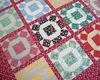 Queen Sized Quilt - 95 x 95 - Rolling Stone - Vintage 30s Look - Japanese Feed Sack and Novelty Prints