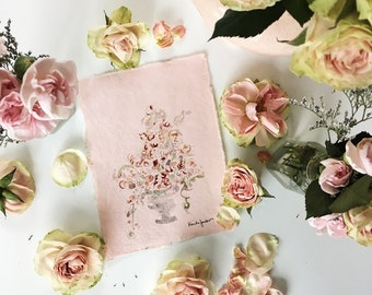 Shimmering abstract floral arrangement tower of roses original watercolor painting