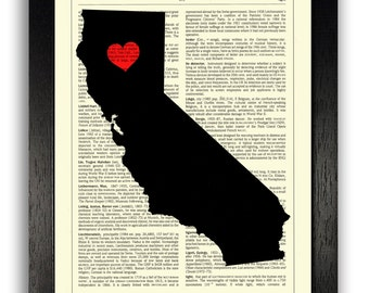 CALIFORNIA ART, California Print, California Office Wall Decor, California State Map Print, California Map Artwork, Dictionary Page Book Art