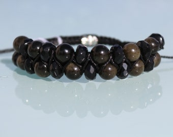 "Jewelry Crystal healing bracelet ""Protection and Introspection"", natural stone, black obsidian and Golden Obsidian"
