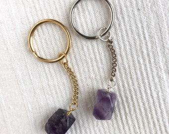 Gemstone keychain, citrine, amethyst, aquamarine, rose quartz, clear quartz, lapis lazuli crystals, raw crystal, gemstone healing