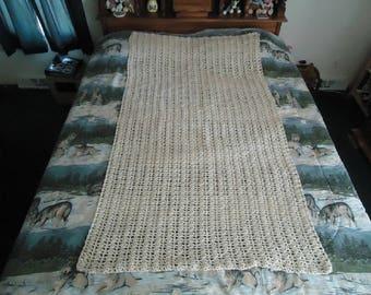 Off White Hand Crocheted Trellis Afghan, Blanket, Throw - Home Decor