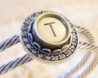 Typewriter Bracelet, Bangle Bracelet, Letter T Initial Bracelet, Antique Typewriter Jewelry, Silver Plated Cuff Bracelet, Crystal Setting