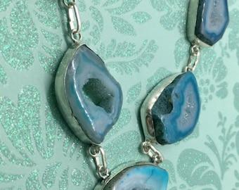 """Solar Quartz Druzy Choker, Blue Solar Quartz Druzy Necklace, Solar Quartz Necklace, Sterling Silver Necklace, Genuine Gemstone Necklace 18 """""""