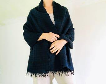 Vintage Organic Indigo Handspun Wool Shawl