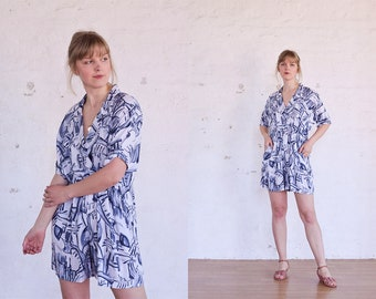 Vintage 80s Jumpsuit Large, White Playsuit With Abstract Print, Boho Romper Jumpsuit, 80s Clothing, White Jumpsuit, Festival Clothing
