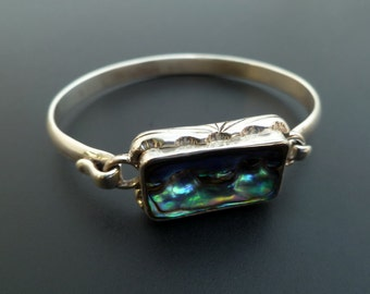Handmade Sterling Silver and Paua Shell Bangle - Custom Made Abalone Shell Bracelet - Shell Bangle Made to Order