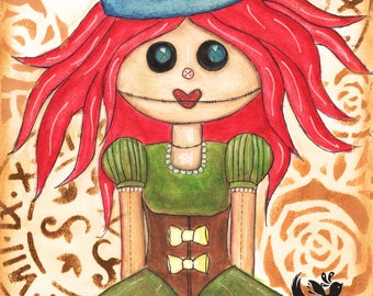 Whimsical Steampunk Doll, A4 Mixed Media, Original Art Print