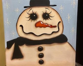 Primitive Snowman Painting, Folk Art Snowman, Canvas Painting, Winter Decor, OOAK, Snowmen, paintings, FolkArt paintings, OOAK paintings
