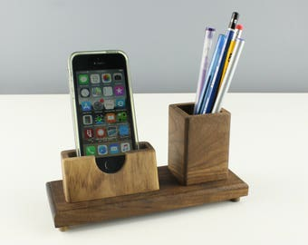 cell phone stand, mobile stand, charging station, mobile dock, phone stand, desk organizer, office gift, pencil holder, phone dock, woodwork