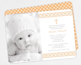 Photo Baptism Invitation, Christening Invitation, Girl Baptism Invitation, Printable Baptism, Invitation PDF, Modern, Peach, jpeg, Christina
