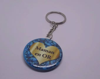 "Badge 38 mm ""gold MOM"" keychain"