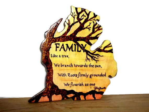 Family Tree Quote Wall Sign Unique Poem Michigan Wall Sign