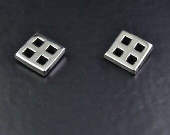 Mackintosh Stud Earrings| Square| Sterling Silver| Scottish Jewellery| Edinburgh| Glasgow| Handmade|