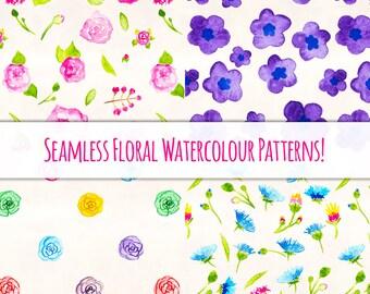 Floral Watercolor Patterns Bundle - 4 Designs Plus 73 Bonus Floral Elements!