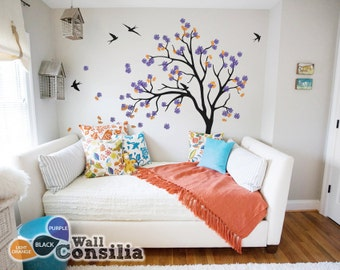 "Baby Nursery Wall Decals - Blossom Tree Decal - Tree Wall Decal - Tree Wall Decals - Tree Wall Decal with Birds - Large: 71"" x 49"" - KC055"