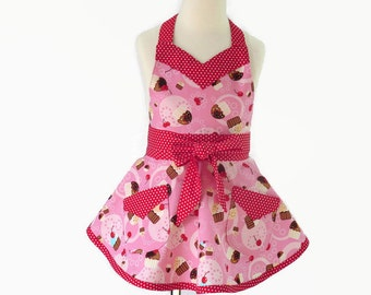 Girls Cupcake Apron,  Girls Pink Retro Apron,  Girls Personalized Apron and Chef Hat, Personalized Gift for Little Girl, Granddaughter Gift