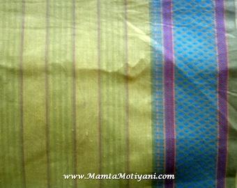 Green Indian Saree Fabric By The Yard, Handmade Fabric, Hand Woven Cotton, Lightweight Curtain Material, Indian Cotton Fabric, Ilkal Saree