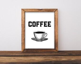 Kitchen Printable Coffee printable, instant art, printable kitchen art, digital art, coffee cup