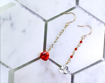 OE-RM01 I Wish I Have You in My Arms - Handmade 14K Gold Filled Dangle Earring with Asymmetric Red Carnelian, Clear Quartz,Swarovski Crystal
