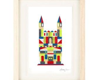 MEDIEVAL CASTLE - Colorful Oversized Illustration Print : 12 x 16