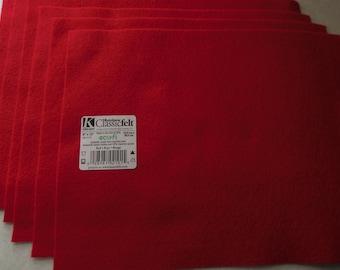 KUNIN Rainbow Classic Felt Six  9x12  Sheets Red
