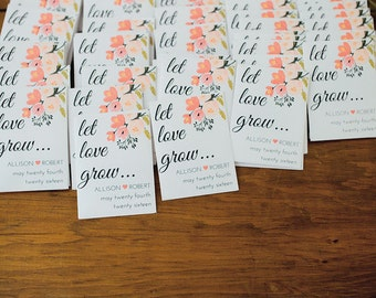 Let Love Grow- Custom Seed Wedding Favors (50 Count) SEALED with SEEDS INCLUDED, Spring Wedding Favors, Elegant Wedding Favors, Florals,