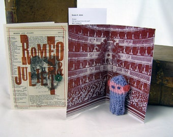 Romeo. Shakespeare Gift Box. Knitted Romeo actor, folded stage and speech. Do It Thyself Shakespeare!