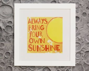 Always Bring Your Own Sunshine framed wall art and space themed poster decor for boys rooms, playrooms and for the junior astronomer.