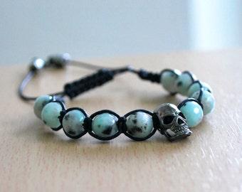 Jasper bracelet, Healing bracelet , Beaded bracelet , Gift for her , Skull bracelet, Gift for girlfriend , Jasper woman , Shamballa
