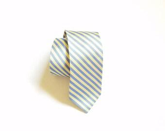 Vintage J Crew Necktie Striped Silk Tie Yellow and Blue Dressy Wedding High Fashion Street Style Urban Classic Hipster Designer Workwear