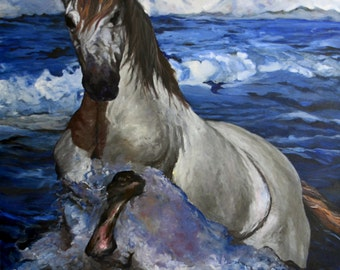 the hacking - 100-100 cm oil on canvas original horse painting
