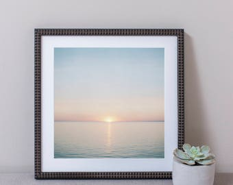 Watercolor Sunset Wall Art, Photography, Framed Print
