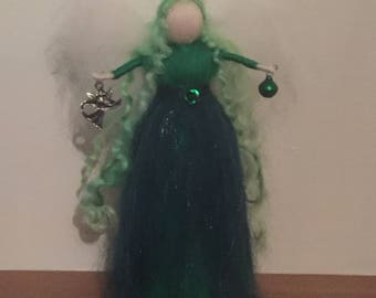 Standing Green Fairy, Fairy Decoration, Waldorf Inspired, Wool Fairy
