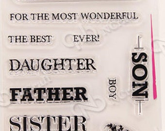 Family Clear Rubber Stamp Set w/ Daughter, Son, Father, Mother, Brother, Sister, Friend, girl, boy, flower, flowers, transparent