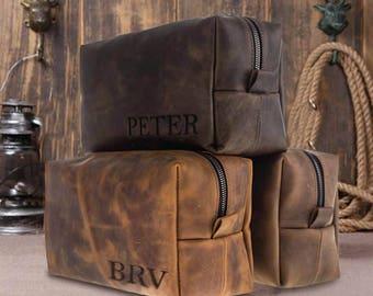 SALE % 50 Anniversary gifts for boyfriend gift personalized leather anniversary gifts for mens gift groomsmen gift husband gift dopp kit