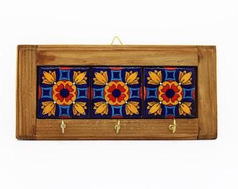 Wooden and ceramic key board-Flor Naranja