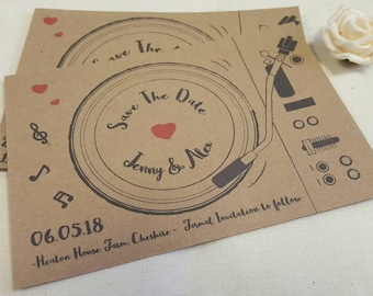 Personalised Save The Dates Wedding Record Player A6 Postcard Invites Ribbed or Kraft with envelops