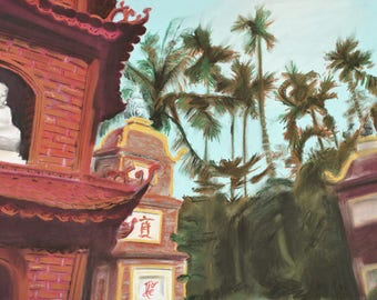Hanoi Temple - original pastel Vietnam travel painting 16x22