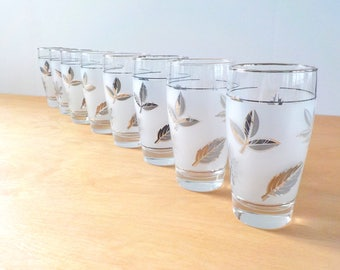 Libbey Glasses • Silver and Grey Leaf • Mid Century Glasses • Frosted Set of 8