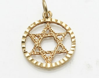 Vintage 14k yellow gold Jewish Star of David Pendant Encircled Estate